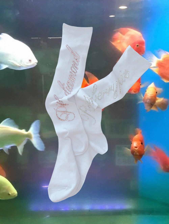 (rsp made) crystal logo knee socks(再入荷)