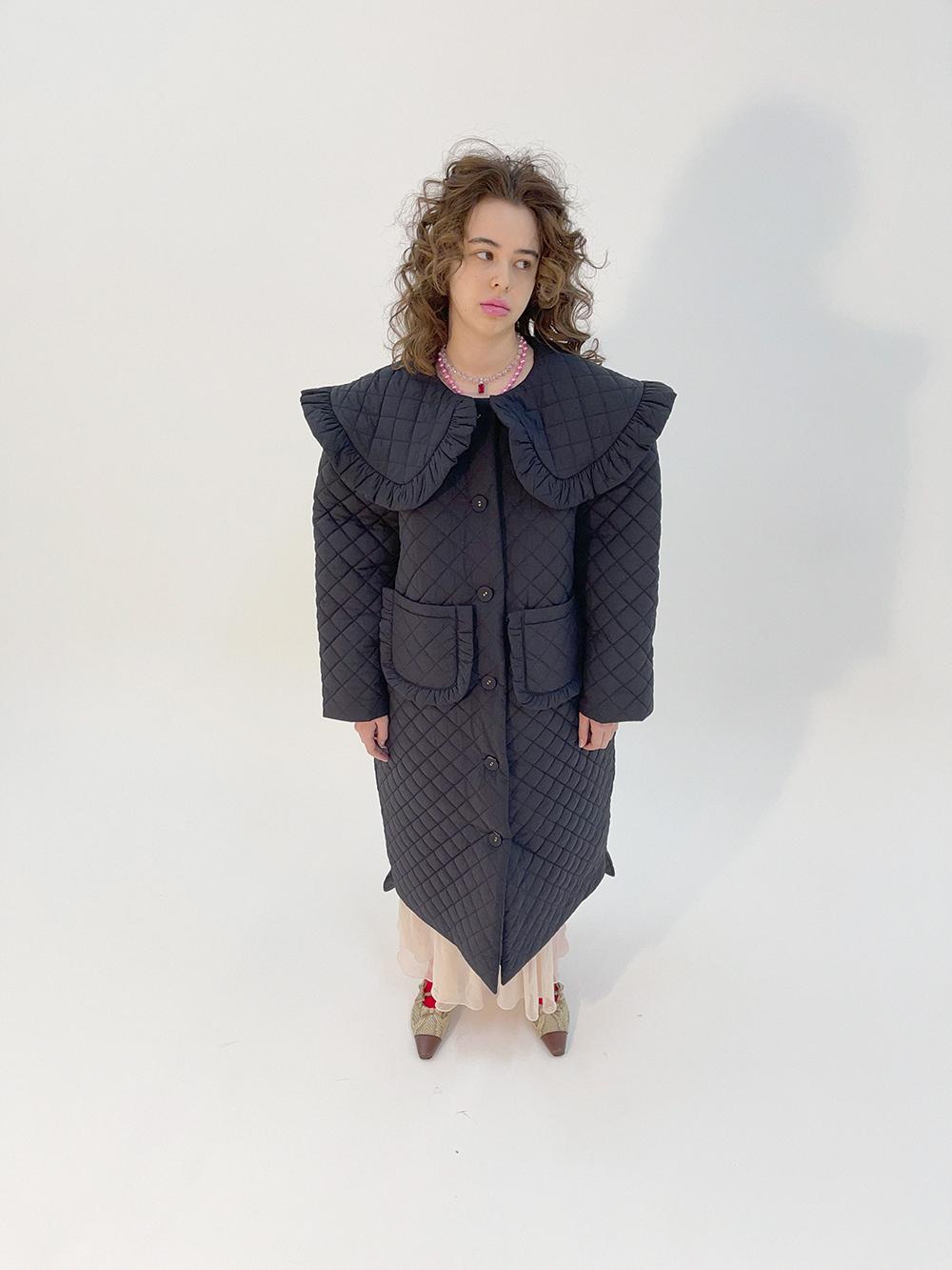 (black) collar quilting coat