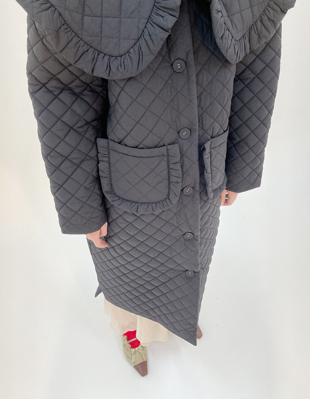 (black) collar quilting coat