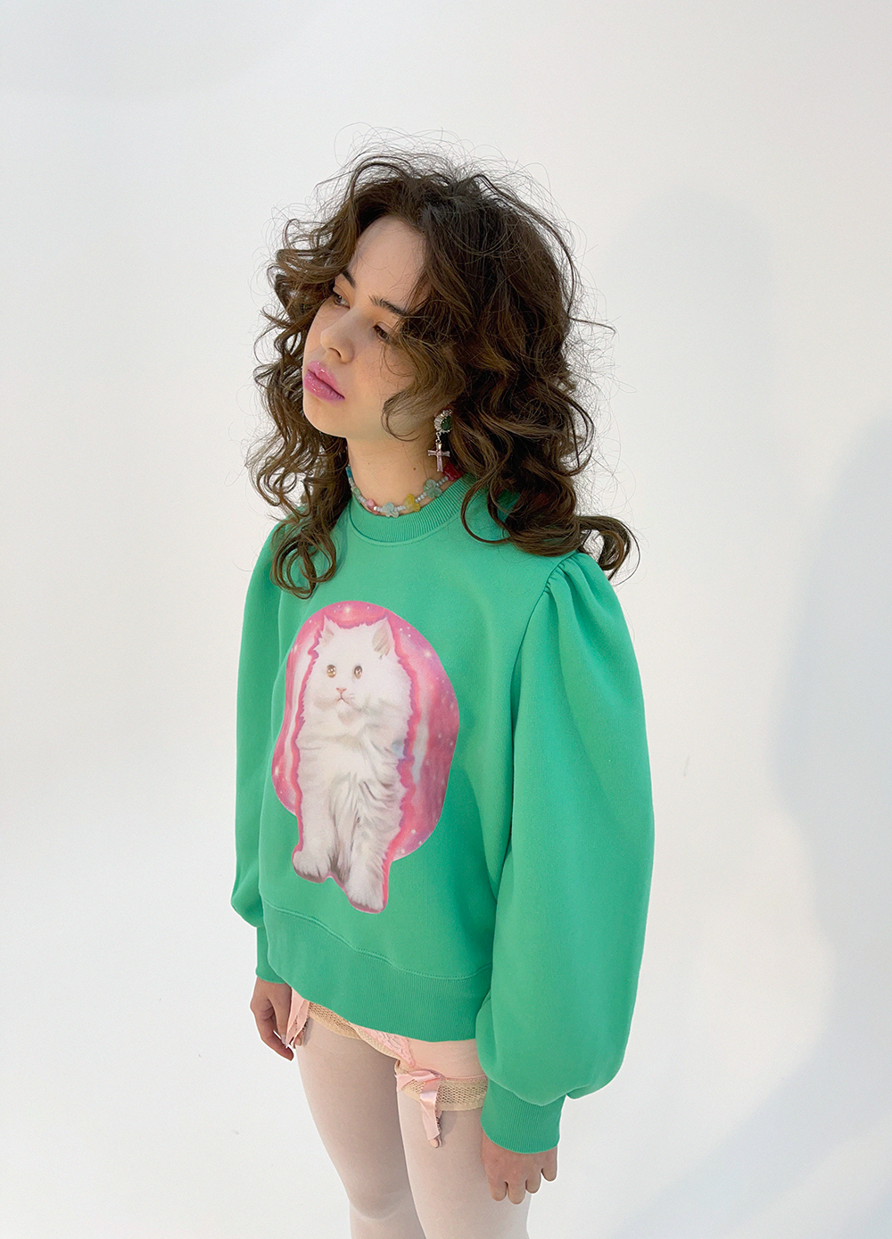 (green) cat sweat shirt