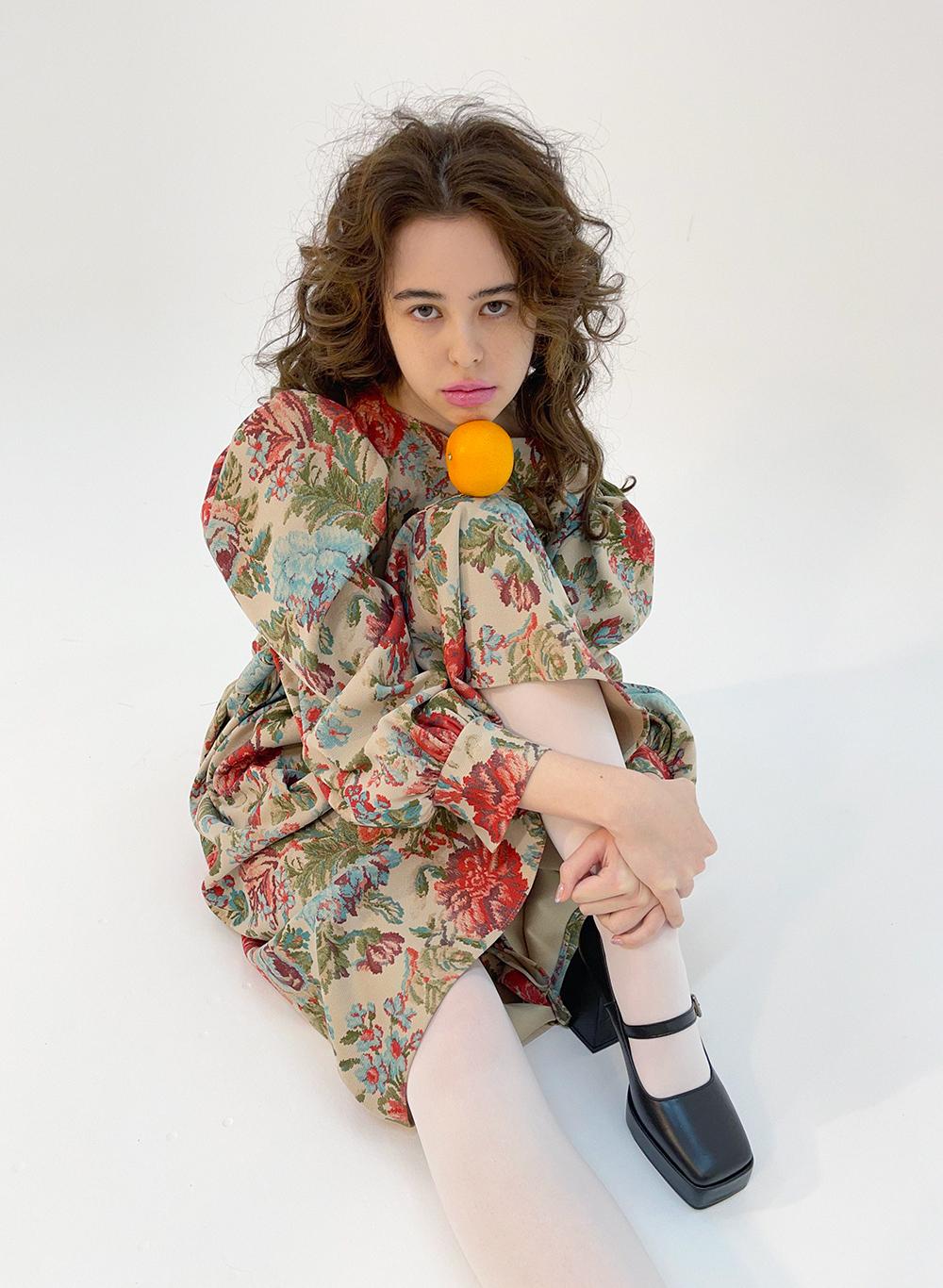 Jacquard puff dress