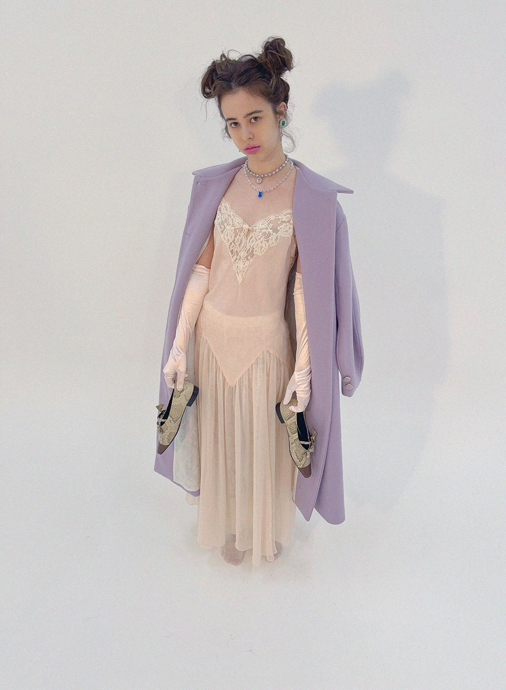 lilac balloon sleeve coat