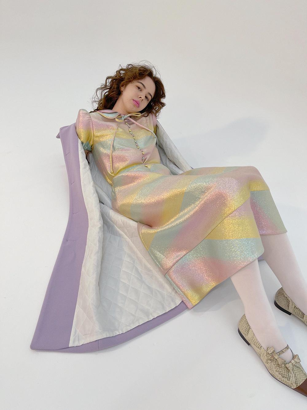 lilac balloon sleeve coat