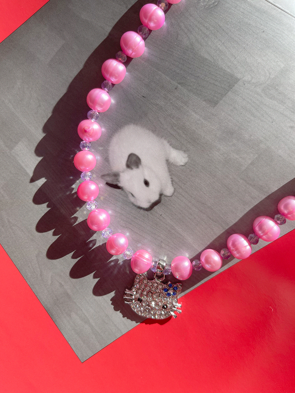 pink pearl cat necklace