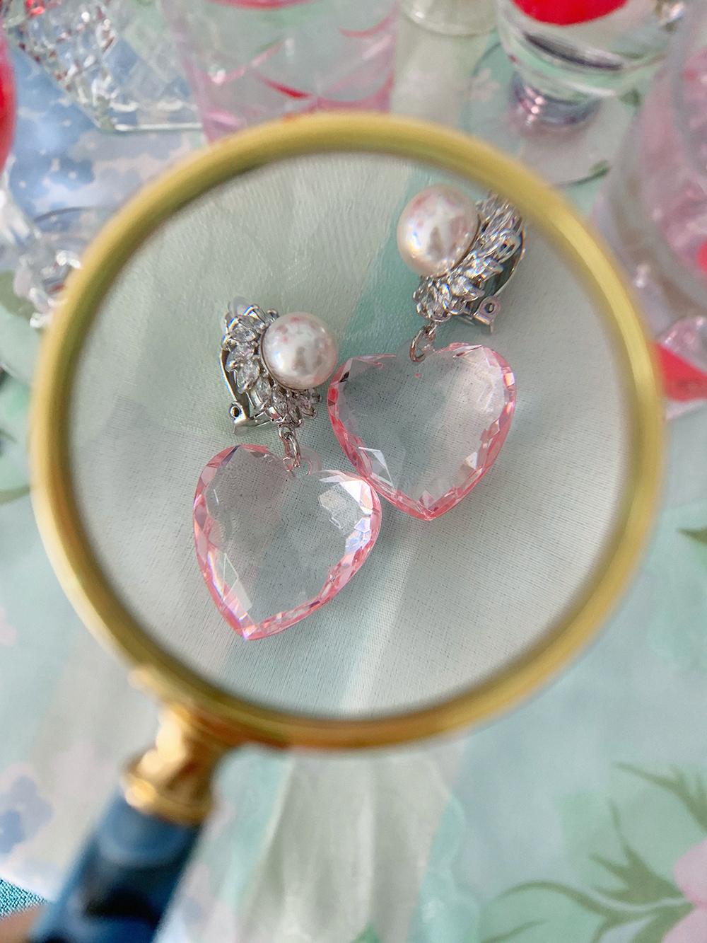 pearl heart earring & pierce