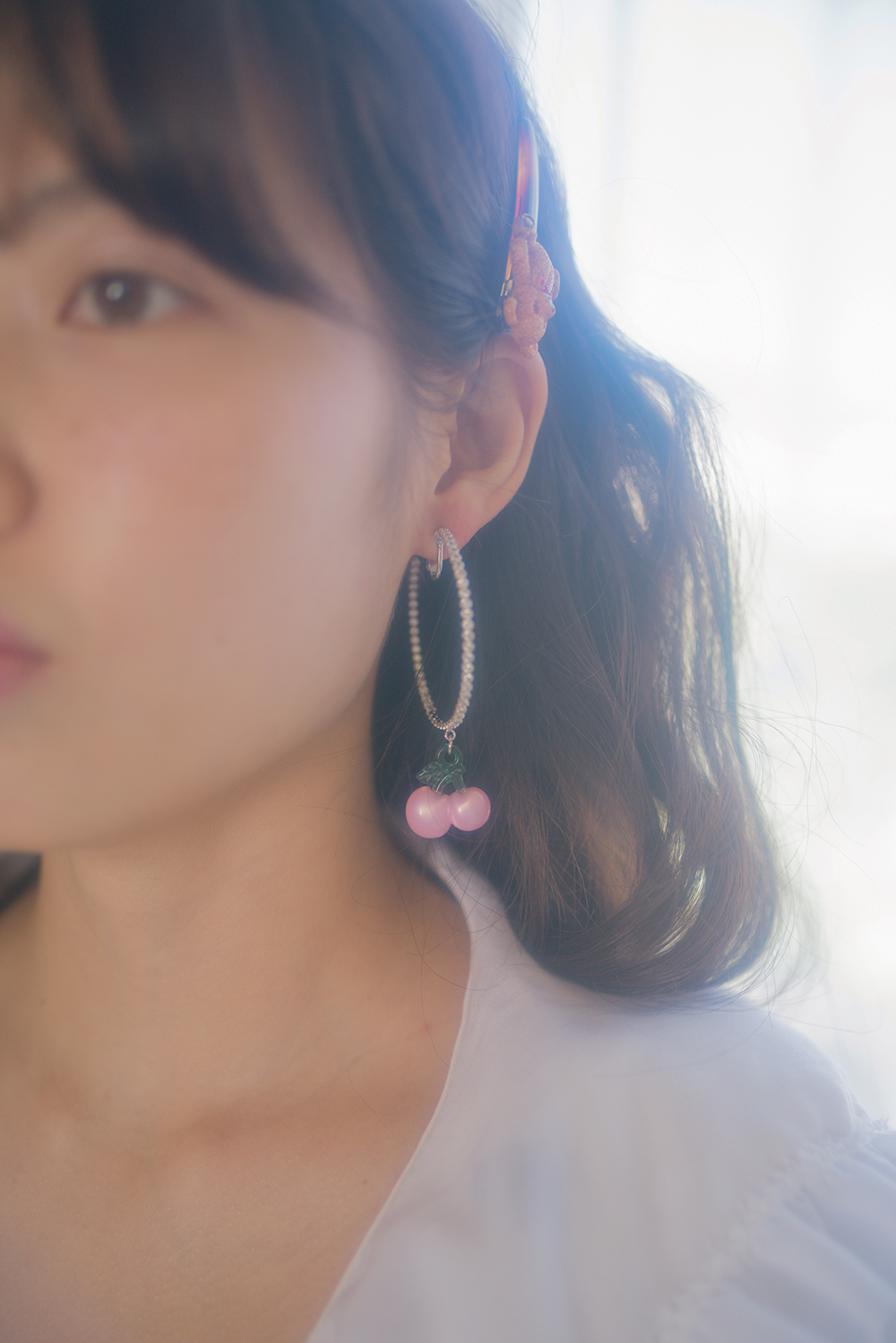 cherry cross ring earring & pierce