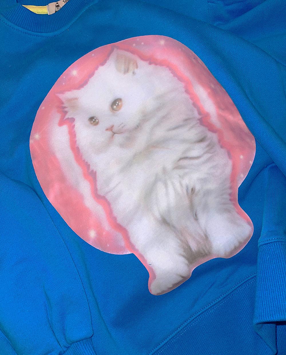 (再入荷) (pink) cat sweat shirt (blue追加)