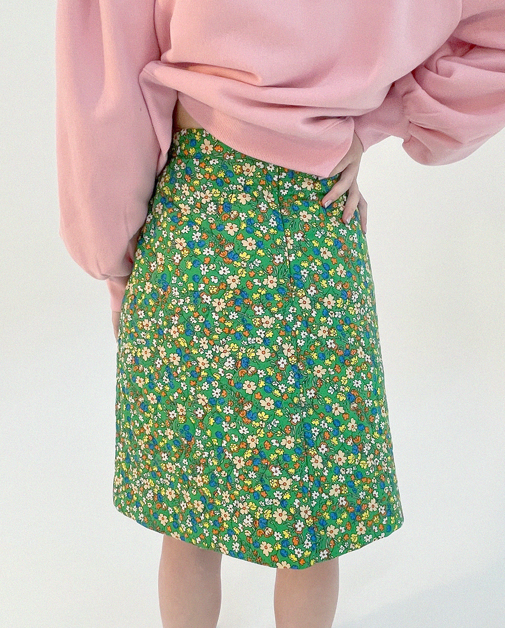 floral quilted skirt