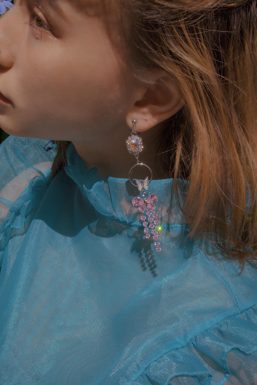 PINK CRYSTAL BUTTERFLY DROP EARRING & PIERCE