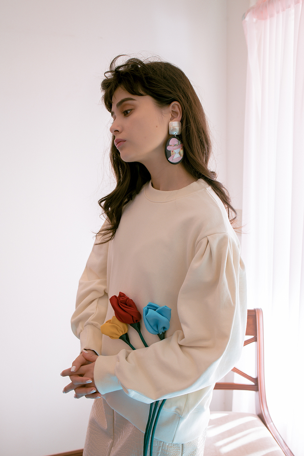 (2COLOR) SHELL BUTTON  EARRING