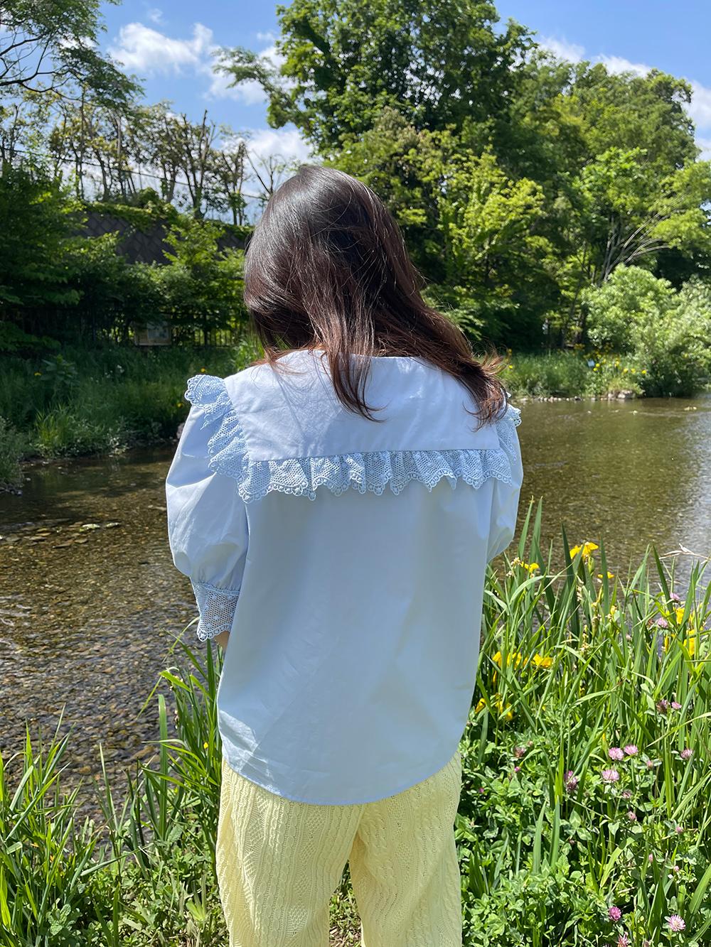 (再入荷) (2color) bouquet embroidery blouse
