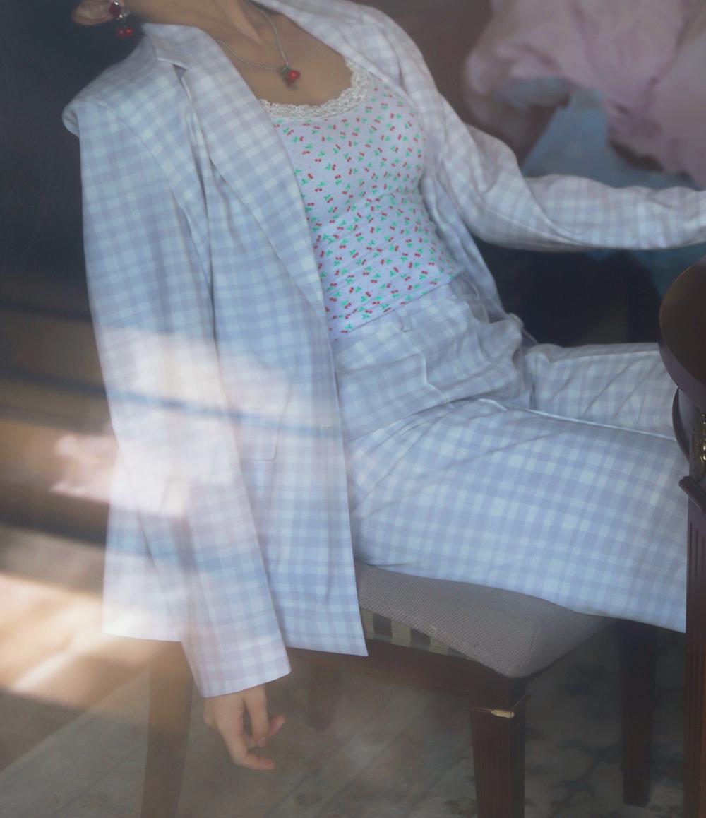 lavender gingham check pants