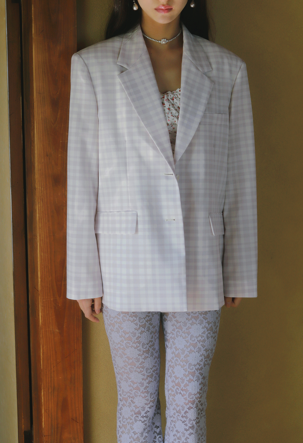 lavender gingham check jacket