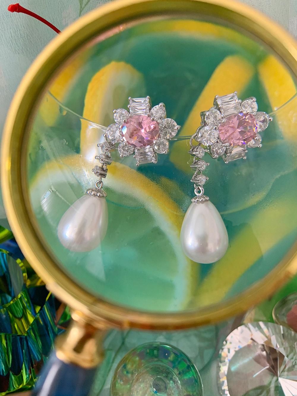 (3color) stone drop earring & pierce
