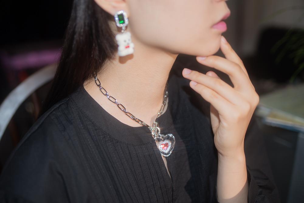 emerald bear pierce & earring