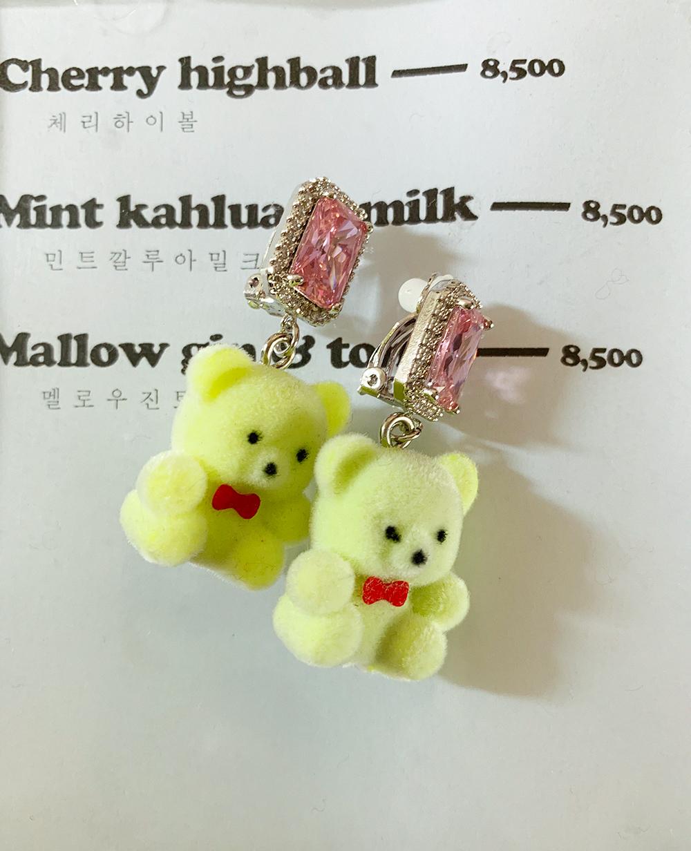 pink bear pierce & earring