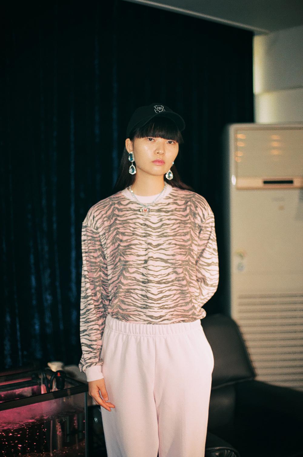 (pink) terry zebra top