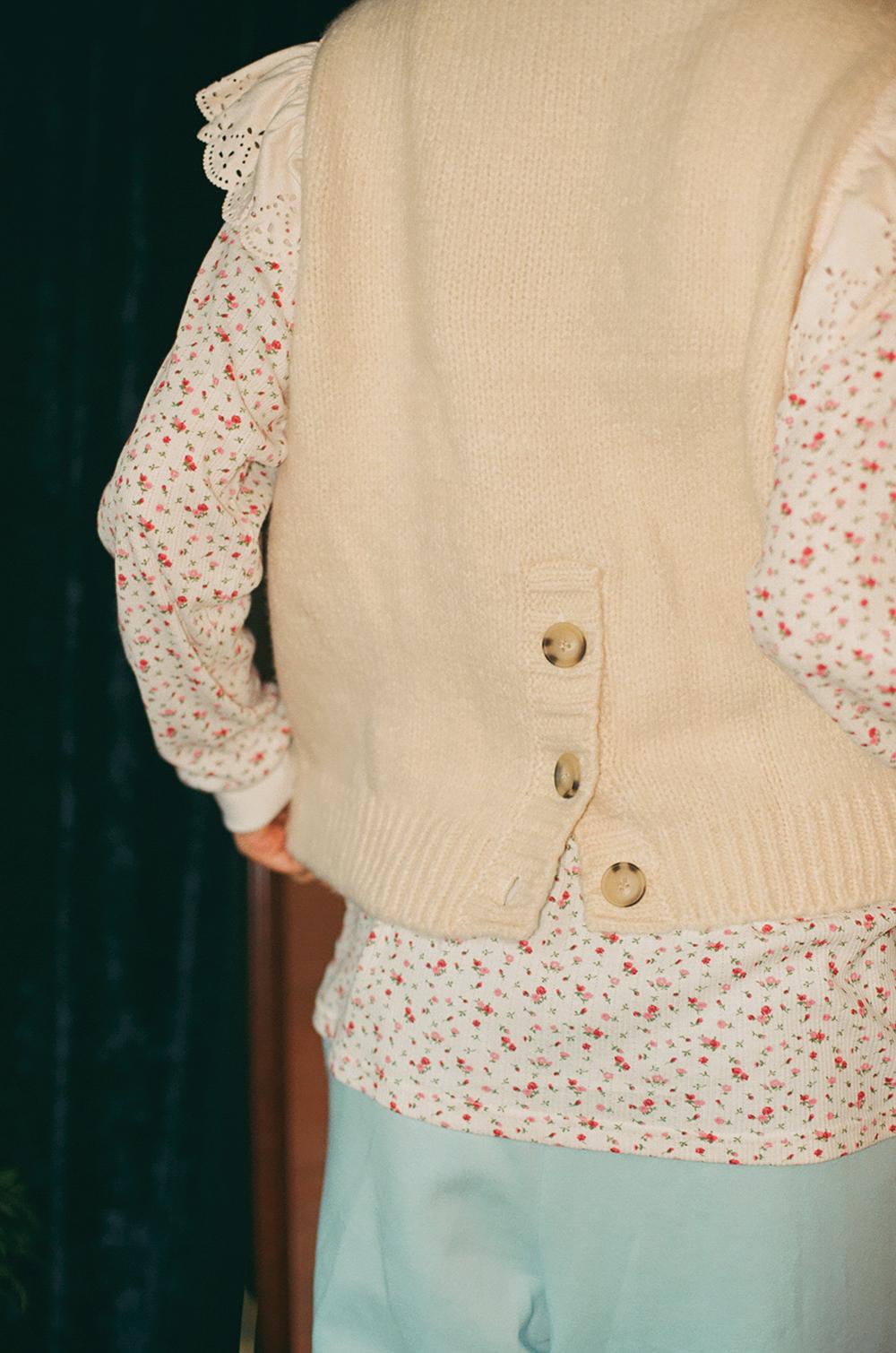 frill lace knit vest