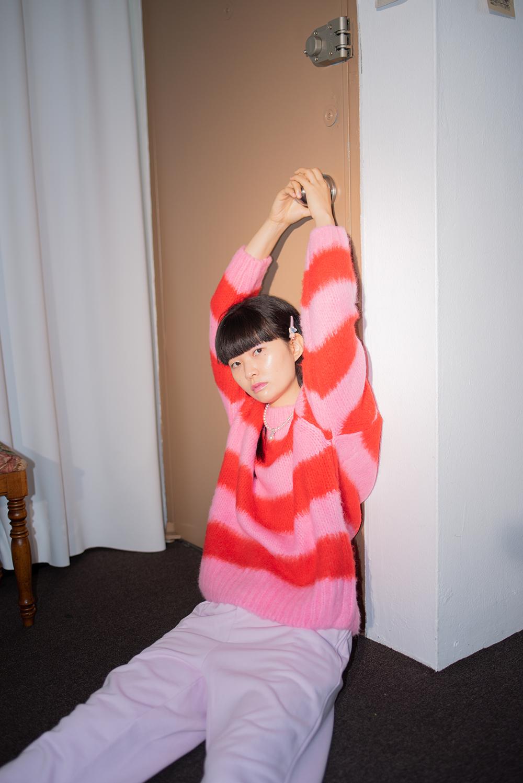 (2次入荷) (pink) stripe rouge knit