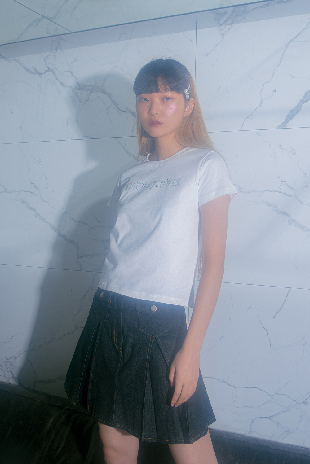 HIGHTEEN BLACK DENIM SKIRT