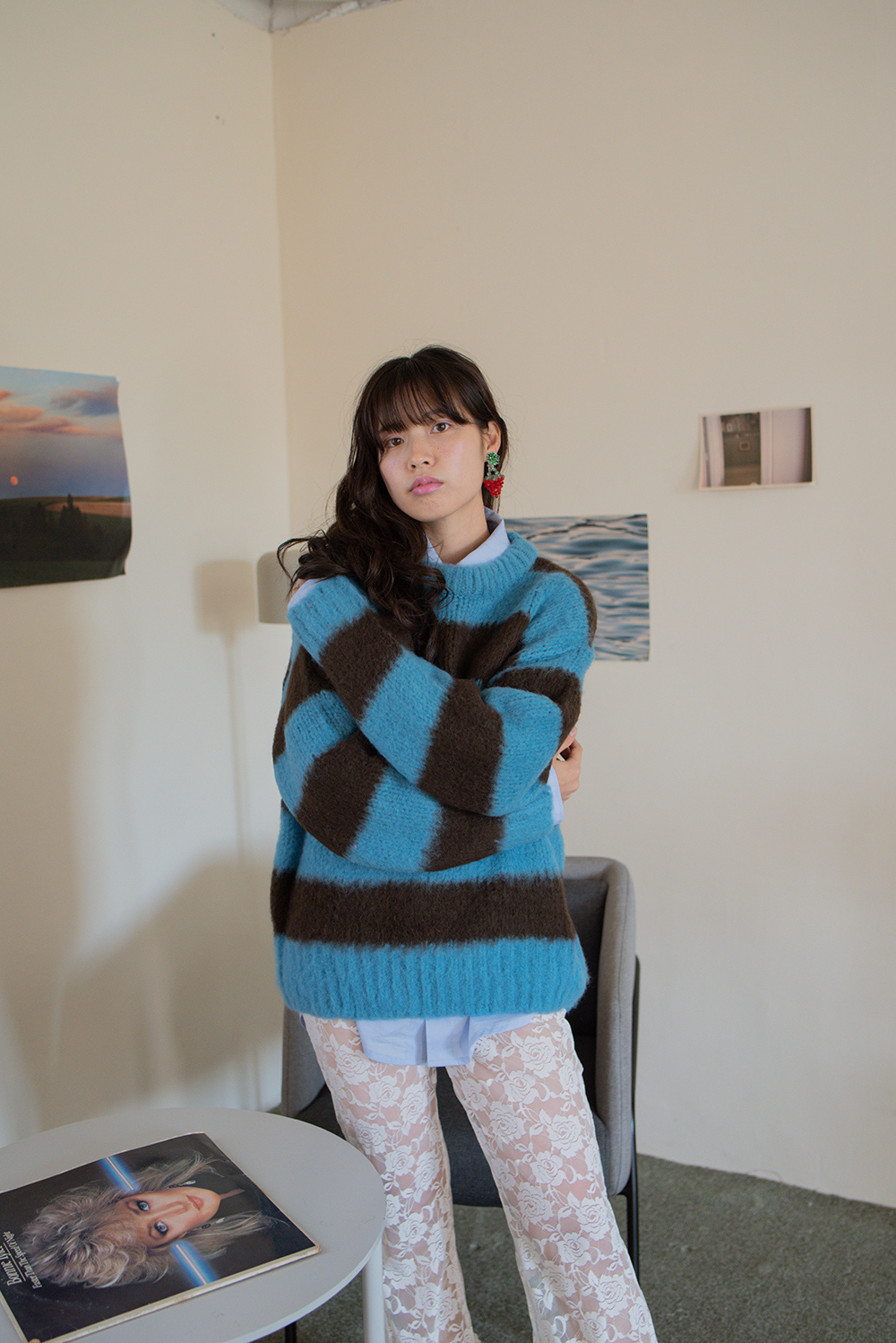 (再入荷) (blue) stripe rouge knit