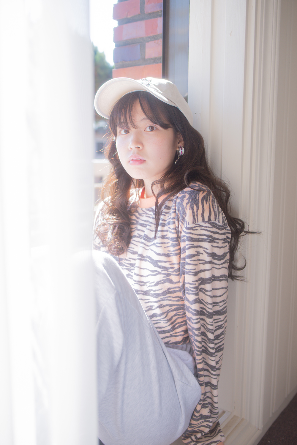 (apricot) terry zebra top