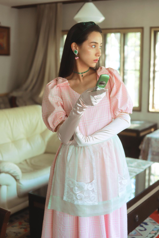 (gingham check) ribbon puff sleeve dress