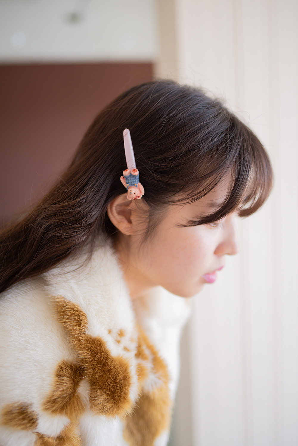 (2color) teddy bear hairpin