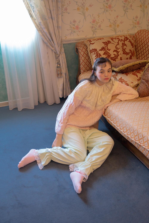 (2COLOR) TOWEL RIBBON LACE PANTS