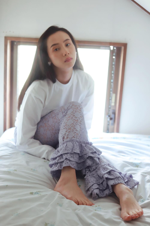 (再入荷)(lavender) lace frill pants