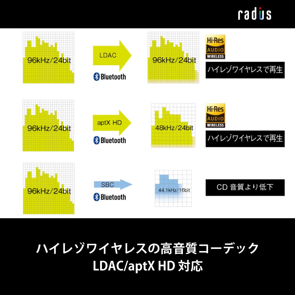 HP-R100BT LDAC aptX HD aptX LL対応 Bluetooth対応ワイヤレスイヤホン