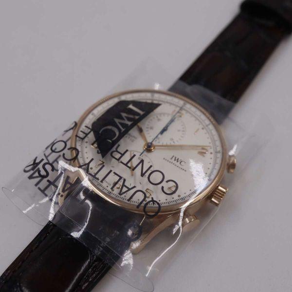 【IWC】 ポルトギーゼ クロノグラフ IW371611 ホワイト文字盤 K18RG 革ベルト メンズ 腕時計 新品