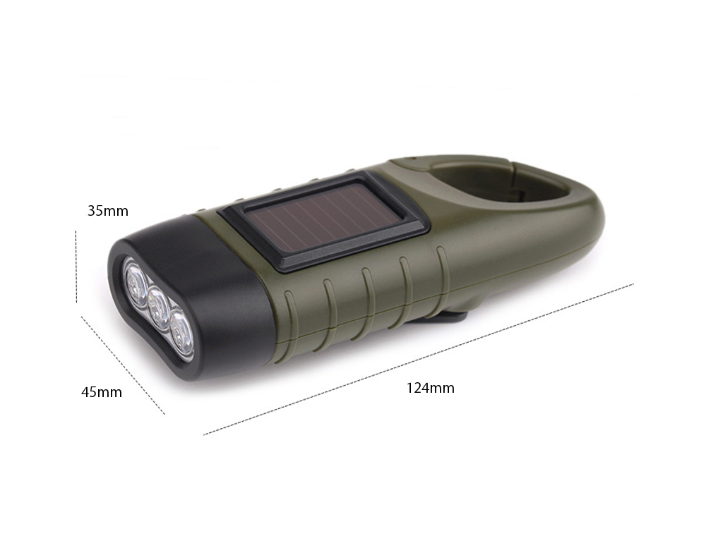 LED 懐中電灯 ソーラー 手回し充電  格好いい ミリタリー #A319