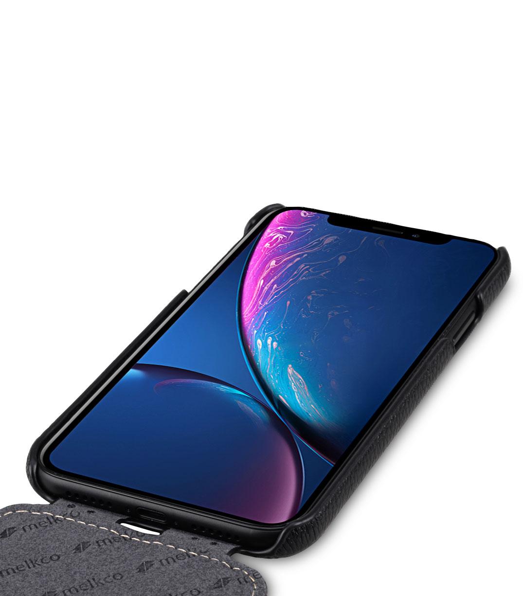 Melkco iPhone XR (6.1インチ) (2018) プレミアム レザーケース 本革 ハンドメイド 磁石不使用 フリップタイプ (縦開き) [ ラセス rasesu Inc 日本正規代理店品 ]  【 ブラックLC 】