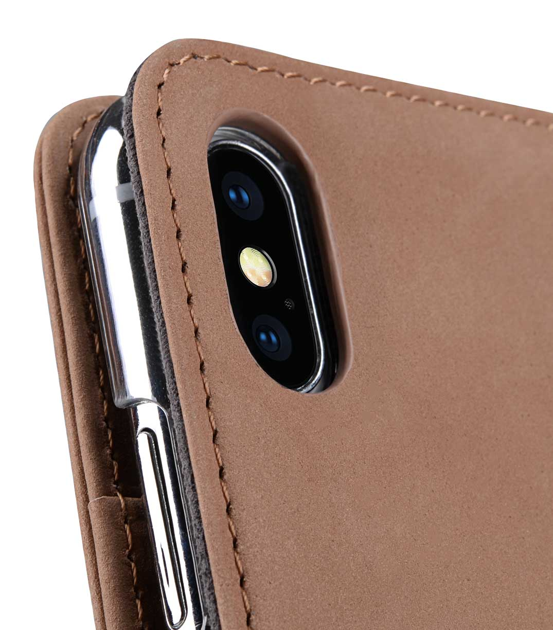 Melkco iPhone XS / X (5.8インチ) (2018 & 2017) ケース 本革 プレミアム レザー ハンドメイド ウォレット ブック タイプ 手帳型 (横開き) 【 クラシック・ビンテージ・ブラウン 】