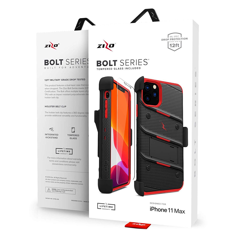 iPhone 11 Pro Max (2019) (6.5インチ)  ケース 【 Zizo 】 耐衝撃 キックスタンド ベルトクリップ 機能付 強化ガラス保護フィルム ランヤード 付属  BOLT シリーズ 【 ブラック / レッド 】