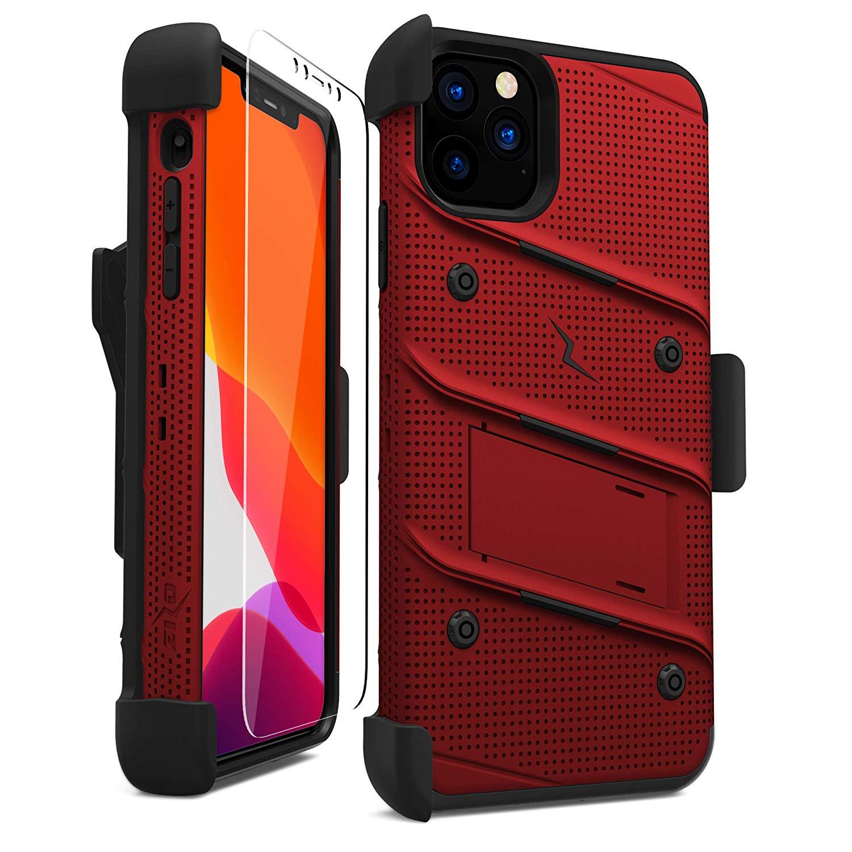iPhone 11 Pro Max (2019) (6.5インチ)  ケース 【 Zizo 】 耐衝撃 キックスタンド ベルトクリップ 機能付 強化ガラス保護フィルム ランヤード 付属  BOLT シリーズ 【 レッド / ブラック 】