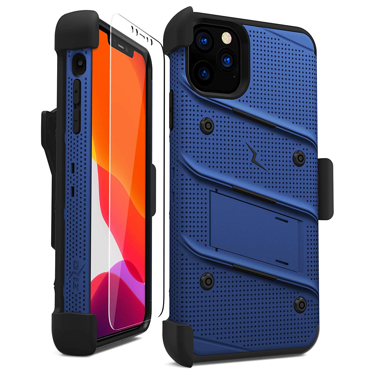 iPhone 11 Pro Max (2019) (6.5インチ)  ケース 【 Zizo 】 耐衝撃 キックスタンド ベルトクリップ 機能付 強化ガラス保護フィルム ランヤード 付属  BOLT シリーズ 【 ブルー / ブラック 】