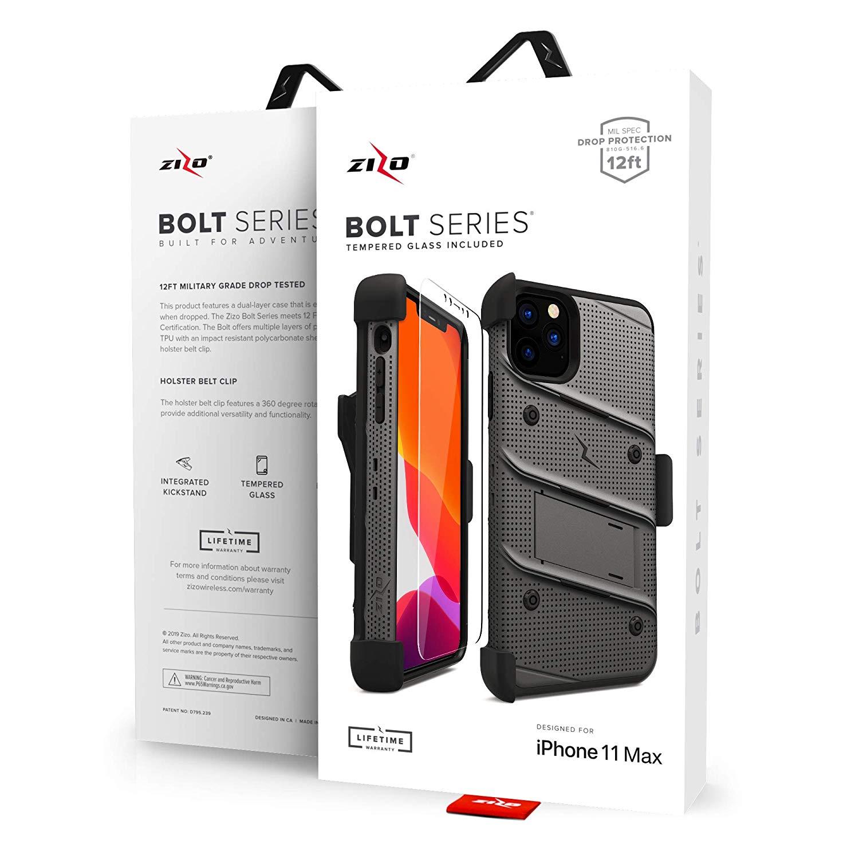 iPhone 11 Pro Max (2019) (6.5インチ)  ケース 【 Zizo 】 耐衝撃 キックスタンド ベルトクリップ 機能付 強化ガラス保護フィルム ランヤード 付属  BOLT シリーズ 【 ガンメタル・グレー / ブラック 】