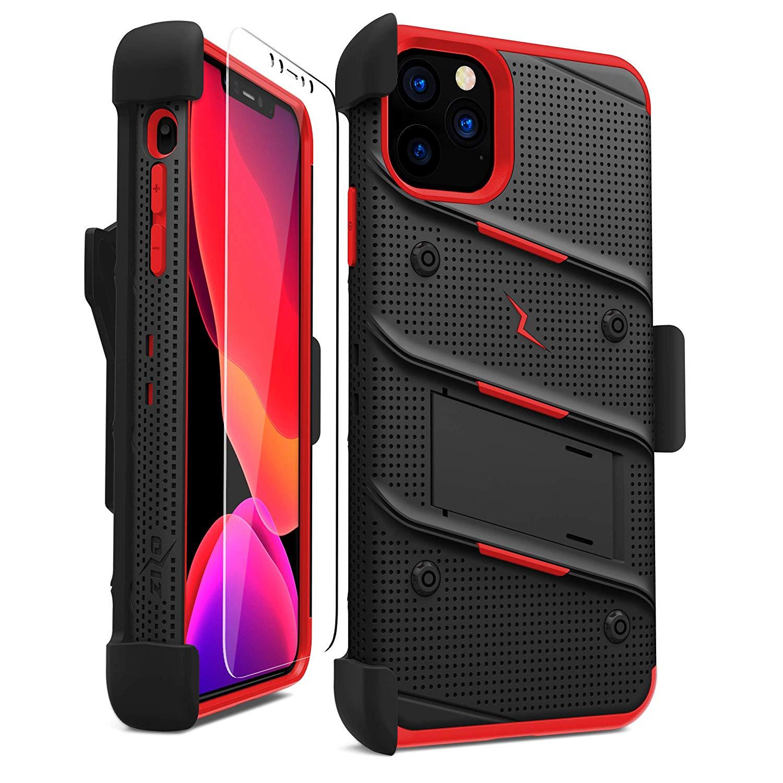 iPhone 11 Pro (2019) (5.8インチ)  ケース 【 Zizo 】 耐衝撃 キックスタンド ベルトクリップ 機能付 強化ガラス保護フィルム ランヤード 付属  BOLT シリーズ 【 ブラック / レッド 】