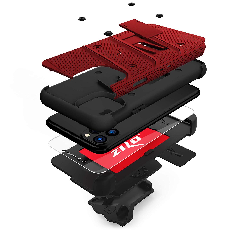 iPhone 11 Pro (2019) (5.8インチ)  ケース 【 Zizo 】 耐衝撃 キックスタンド ベルトクリップ 機能付 強化ガラス保護フィルム ランヤード 付属  BOLT シリーズ 【 レッド / ブラック 】