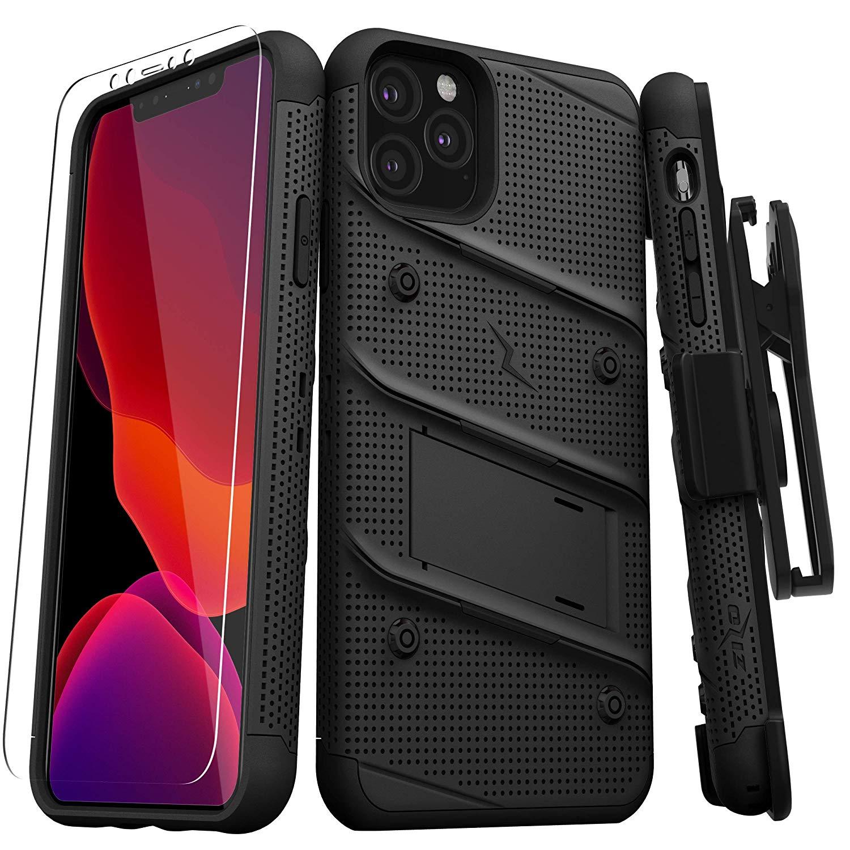 iPhone 11 Pro (2019) (5.8インチ)  ケース 【 Zizo 】 耐衝撃 キックスタンド ベルトクリップ 機能付 強化ガラス保護フィルム ランヤード 付属  BOLT シリーズ 【 ブラック / ブラック 】