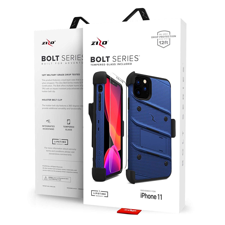iPhone 11 Pro (2019) (5.8インチ)  ケース 【 Zizo 】 耐衝撃 キックスタンド ベルトクリップ 機能付 強化ガラス保護フィルム ランヤード 付属  BOLT シリーズ 【 ブルー / ブラック 】