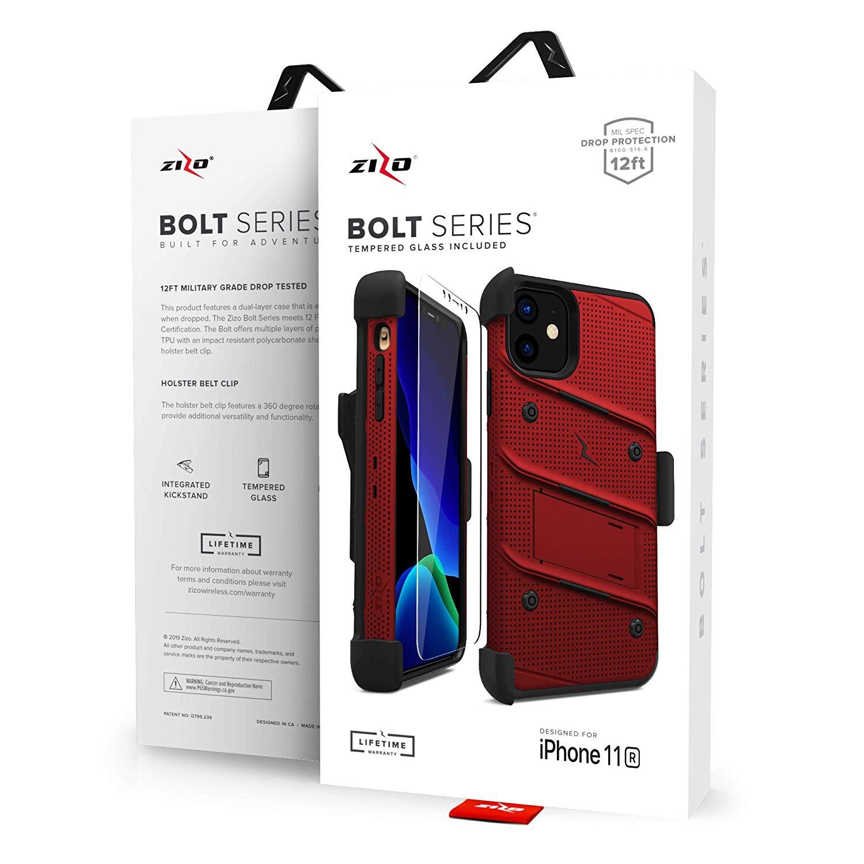 iPhone 11 (2019) (6.1インチ)  ケース 【 Zizo 】 耐衝撃 キックスタンド ベルトクリップ 機能付 強化ガラス保護フィルム ランヤード 付属  BOLT シリーズ 【 レッド / ブラック 】