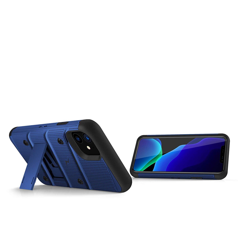 iPhone 11 (2019) (6.1インチ)  ケース 【 Zizo 】 耐衝撃 キックスタンド ベルトクリップ 機能付 強化ガラス保護フィルム ランヤード 付属  BOLT シリーズ 【 ブルー / ブラック 】