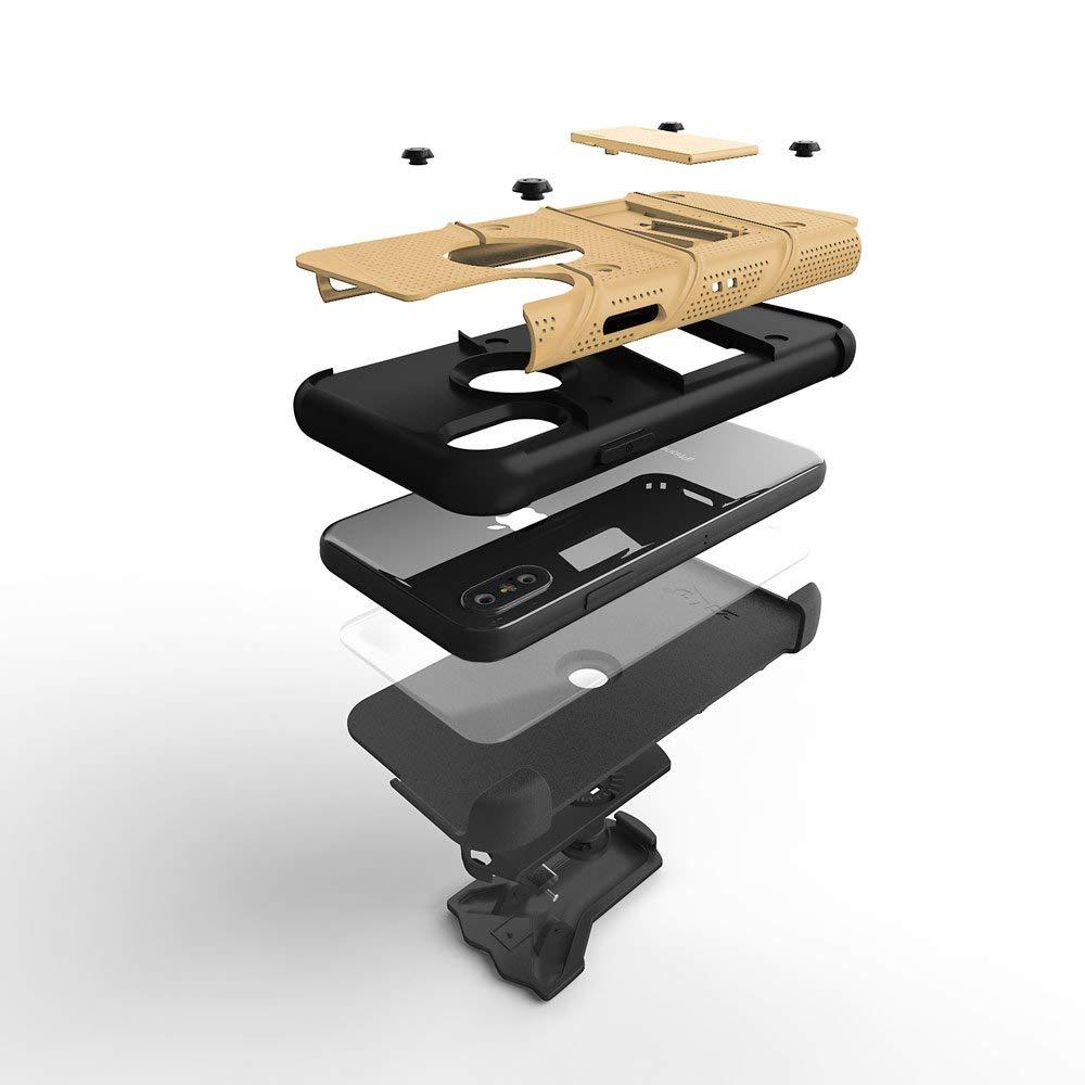 iPhone XS Max (6.5インチ) (2018)  ケース 【 Zizo 】 耐衝撃 米軍MIL規格取得 キックスタンド ベルトクリップ 機能付 強化ガラス保護フィルム付属 ハイブリッド  ( ポリカーボネイト × TPU ) ボルト シリーズ 【 ゴールド / ブラック 】