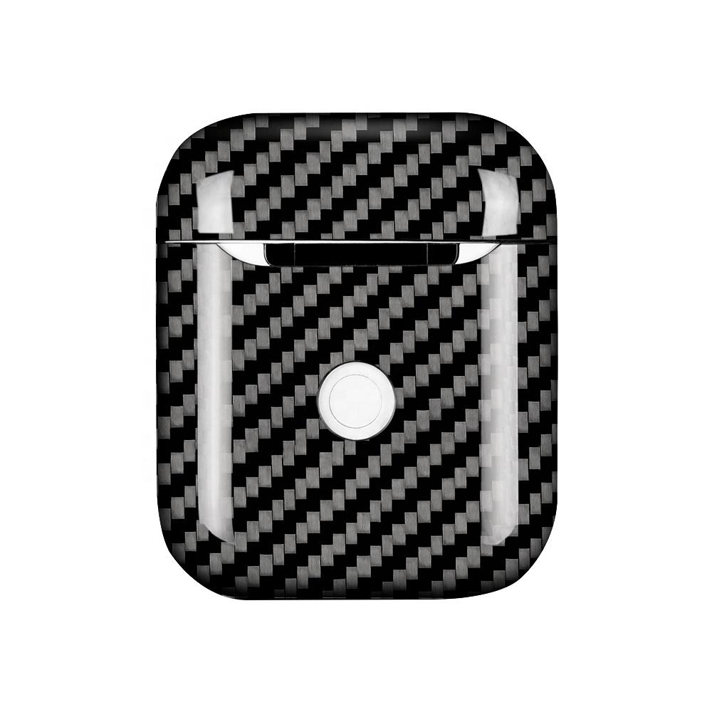 Apple AirPods 【 100% リアルカーボン 】 ワイヤレスチャージ ケース (2019年発売)  A1938 対応 超軽量 高強度 簡単脱着 エアポッド プロテクティブ ケース  【 ブラック 】