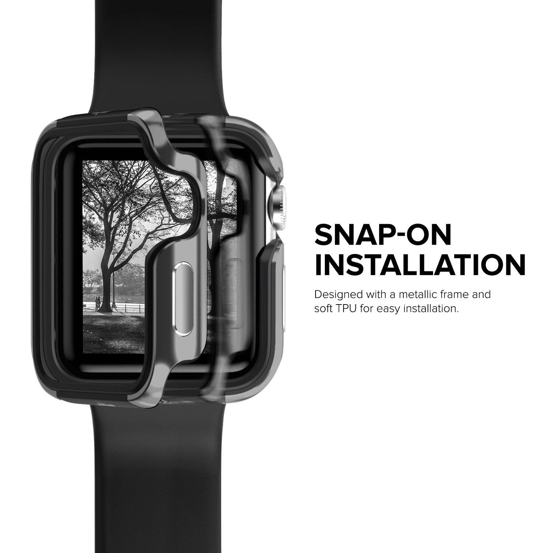 Apple Watch 3 / 2 / 1 ケース (42mm)  【 米国 Zizo 】 米軍MIL規格 810.1-G 耐衝撃 アルミニウム メタル バンパー x TPU ハイブリッド (2層構造)  スリム ケース   【 グレー / ブラック 】