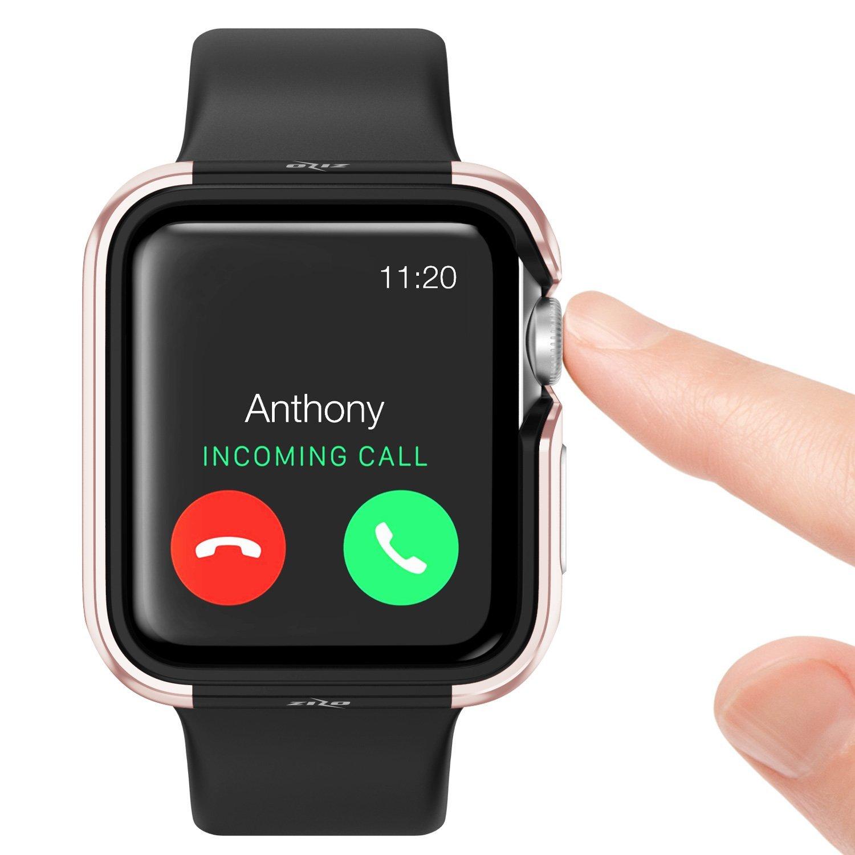 Apple Watch 3 / 2 / 1 ケース (38mm)  【 米国 Zizo 】 米軍MIL規格 810.1-G 耐衝撃 アルミニウム メタル バンパー x TPU ハイブリッド (2層構造)  スリム ケース   【 ローズ・ゴールド / ブラック 】