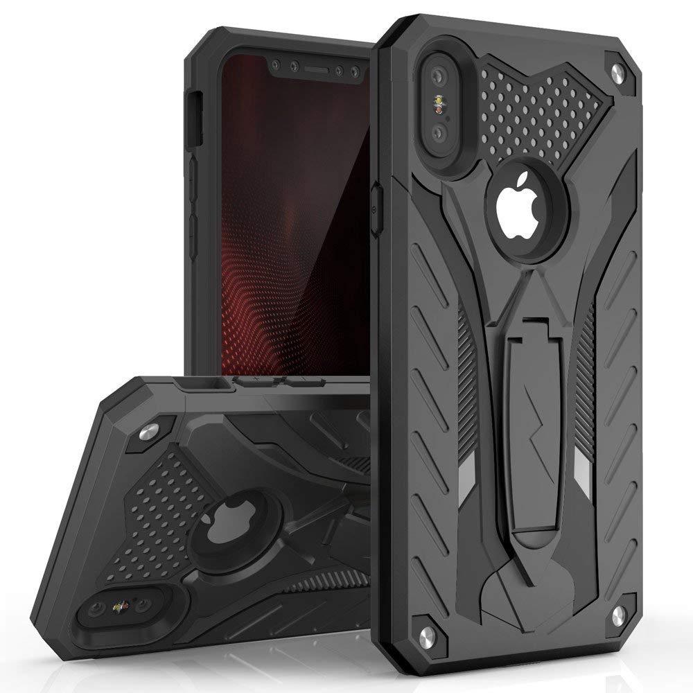 iPhone XS Max (6.5インチ) (2018) ケース 【 Zizo 】 耐衝撃 米軍MIL規格取得 キックスタンド ハイブリッド  ( ポリカーボネイト × TPU ) STATIC シリーズ 【 ブラック / ブラック 】